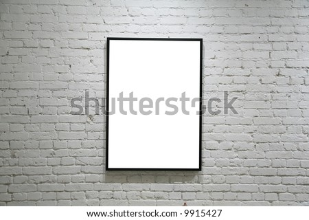 one black frame on white brick wall - stock photo