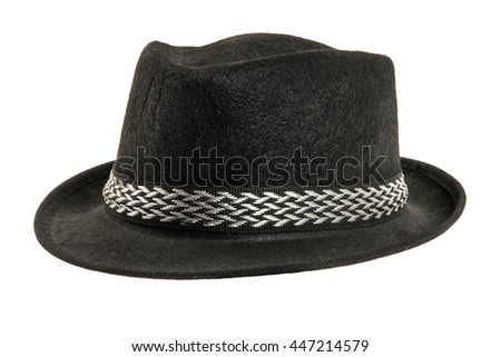 one black hat,  from one side, on white background; isolated - stock photo