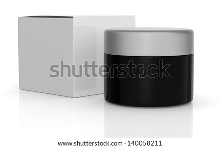 one black jar with a white box (3d render) - stock photo