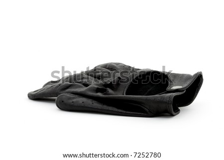One black leather driving glove on a white background - stock photo