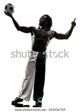 one black man soccer player holding showing football on white background - stock photo