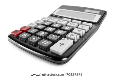 One black modern calculator isolated on white background - stock photo