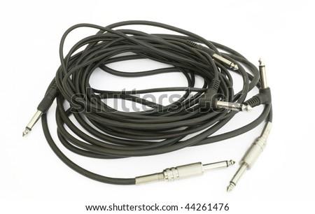 One black musical cabel isolated on white background - stock photo