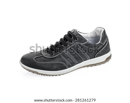 One black sport shoes isolated on white