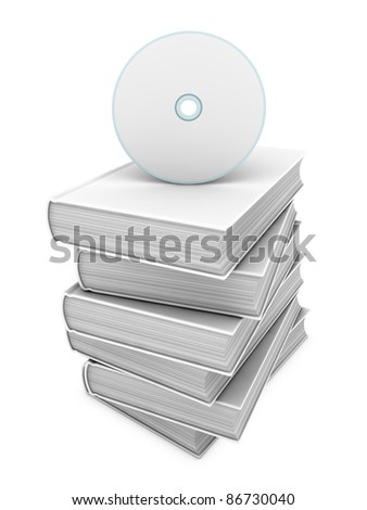 one blank cd or dvd with a pile of books - concept of audio book (3d render) - stock photo