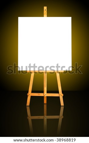One blank white canvas on easel over a dark gold background - stock photo