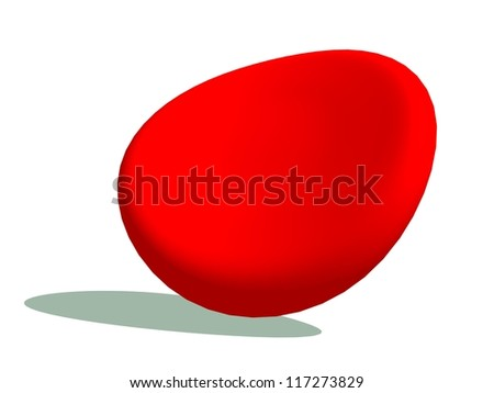 One blood cell with its shadow in white background - stock photo