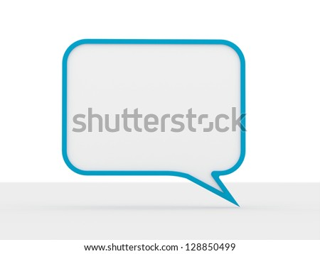 One blu speech bubble isolated on white background - stock photo