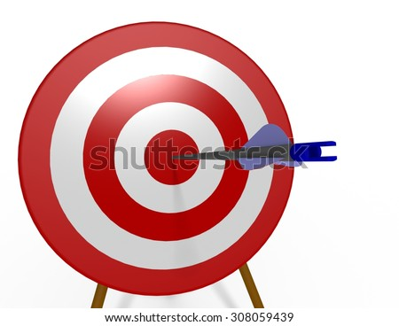 One blue arrow shot into the bulls-eye of a red and white archery target at a dramatic angle