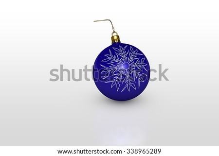 one blue christmas ball with white snowflake over white background - stock photo