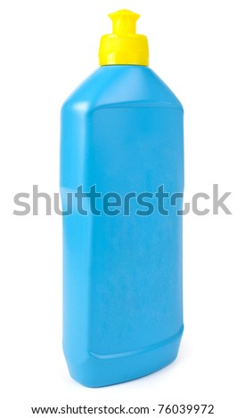 One blue clean bottle isolated on white background