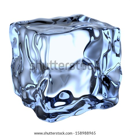 One blue clear ice cube isolated on white background - stock photo