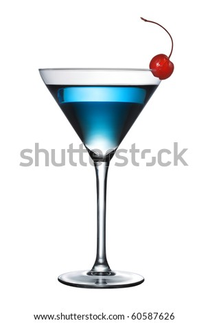 One blue cocktail martini isolated with pen clipping path included - stock photo