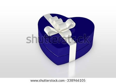 one blue gift box in heart shape isolated on white background