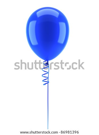 one blue party balloon with ribbon isolated on white background - stock photo
