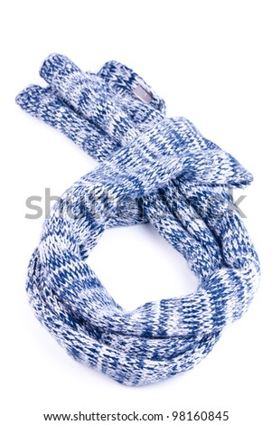 one blue scarf on white background in studio