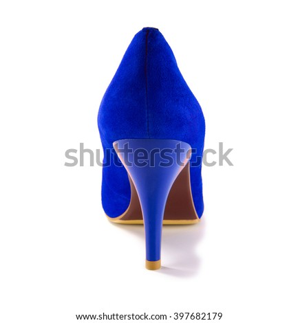 One blue shoe is isolated on a white background