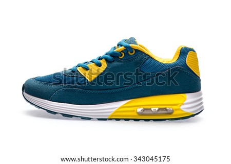 One blue sports sneaker with shoelace on a white background - stock photo