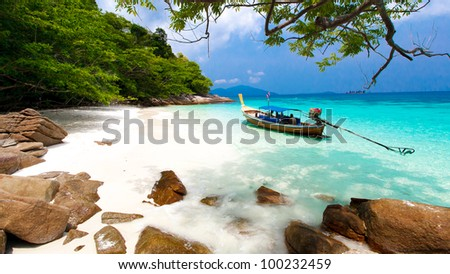 One boat on the sea in Southern of Thailand - stock photo