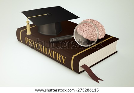 one book with a mortar board, a human brain and a magnifying glass, concept of faculty of psychiatry (3d render)