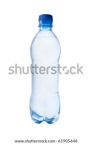 One bottle of watter, white background isolated