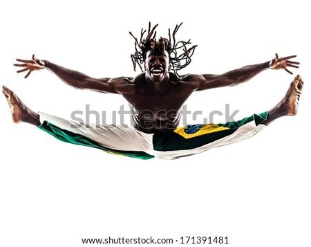 one brazilian black man dancer dancing capoeira on white background - stock photo