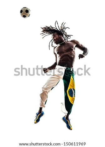 one brazilian  black man soccer player  heading football  on white background silhouette - stock photo