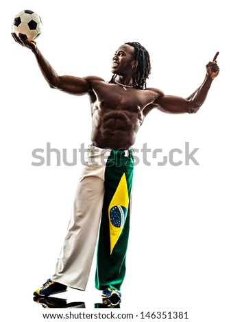 one brazilian black man soccer player holding showing football  on white background - stock photo