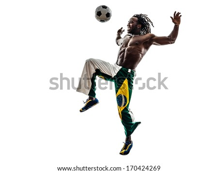one brazilian black man soccer player juggling football on white background - stock photo