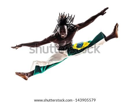 one brazilian brazilian  black man dancer dancing capoiera on white background - stock photo