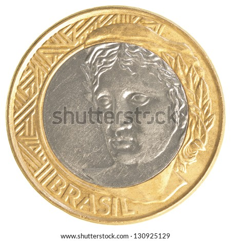 one Brazilian real coin isolated on white background - stock photo