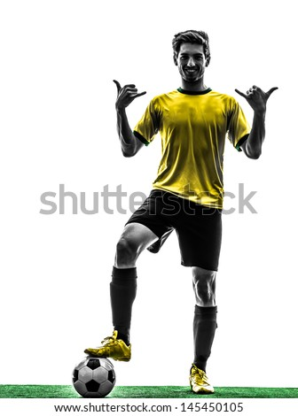one brazilian soccer football player young man standing saluting in silhouette studio  on white background - stock photo