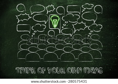 one bright idea in the middle of a talking group of people, stand out from the crowd and be unique - stock photo
