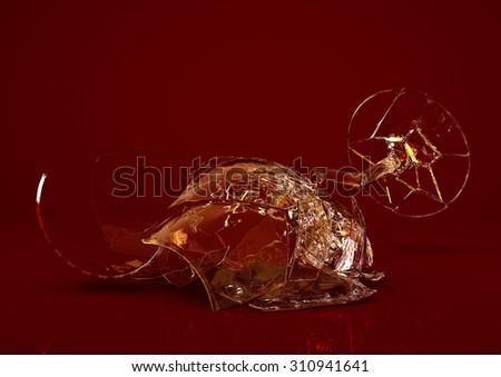 One Broken Empty Wine Glass - stock photo