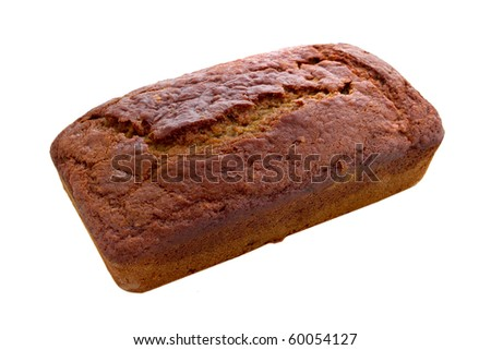 one brown and yellow loaf of fresh banana bread over white - stock photo