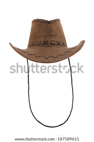 one brown chamois cowboy hat,  full face, on white background; isolated - stock photo