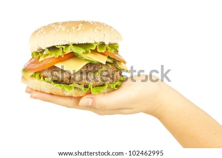 One burger in female hand - stock photo