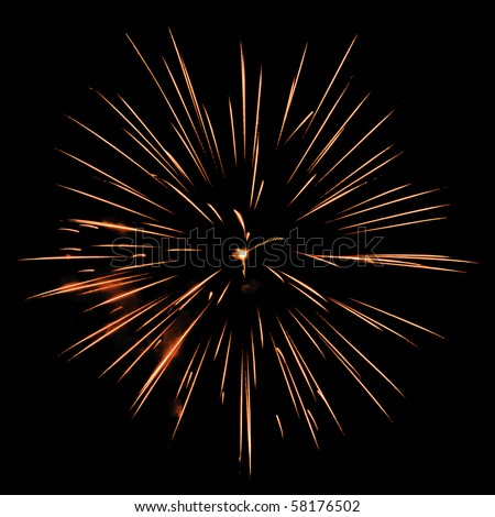 One burst of fireworks on square background of night sky - stock photo