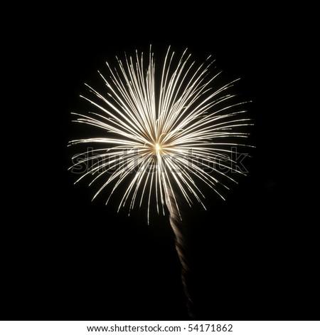 One burst of white fireworks on square background - stock photo