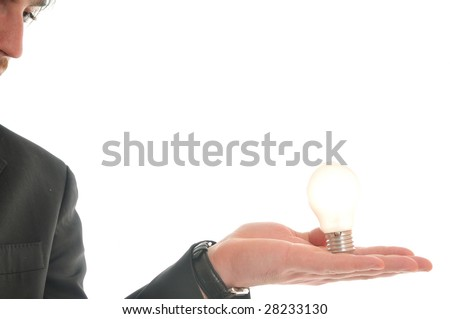 one business man isolated on white hold bul with idea and inovation concept