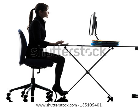 one business woman computer computing typing  silhouette studio isolated on white background - stock photo