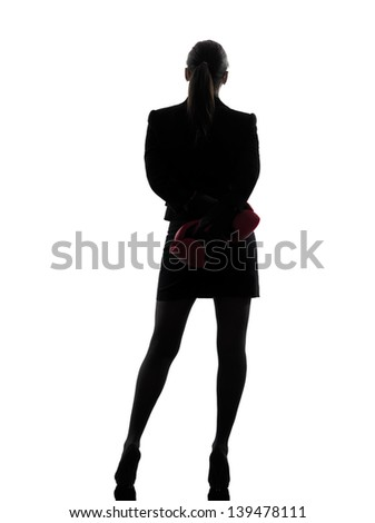 one business woman with box g gloves  silhouette studio isolated on white background - stock photo
