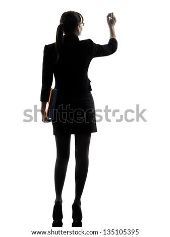 one business woman writ g hold g folders files  silhouette studio isolated on white background - stock photo
