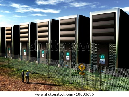 One businessman and one engineer inspecting a computer farm. - stock photo
