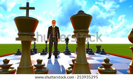 One businessman standing on chess board - stock photo