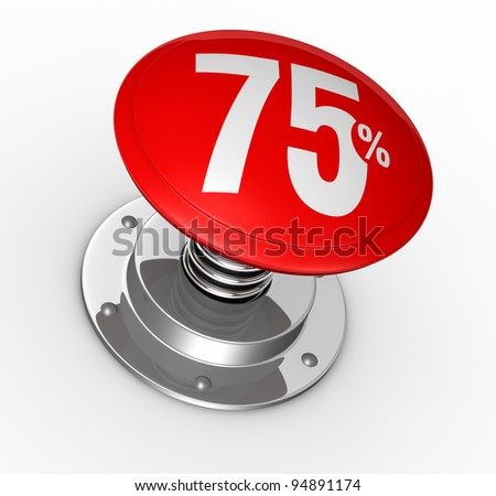 one button with number 75 and percent symbol (3d render)
