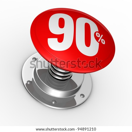 one button with number 90 and percent symbol (3d render)