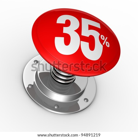 one button with number 35 and percent symbol (3d render)