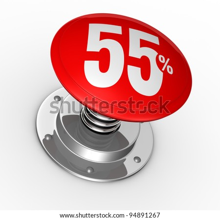 one button with number 55 and percent symbol (3d render)