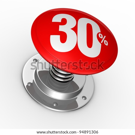 one button with number 30 and percent symbol (3d render)